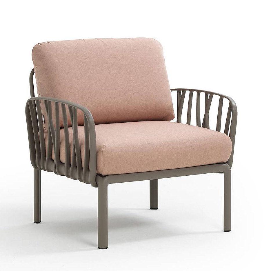 Кресло с подушками для сада и терас Nardi KOMODO POLTRONA TORTORA-rosa quarzo 40371.10.066
