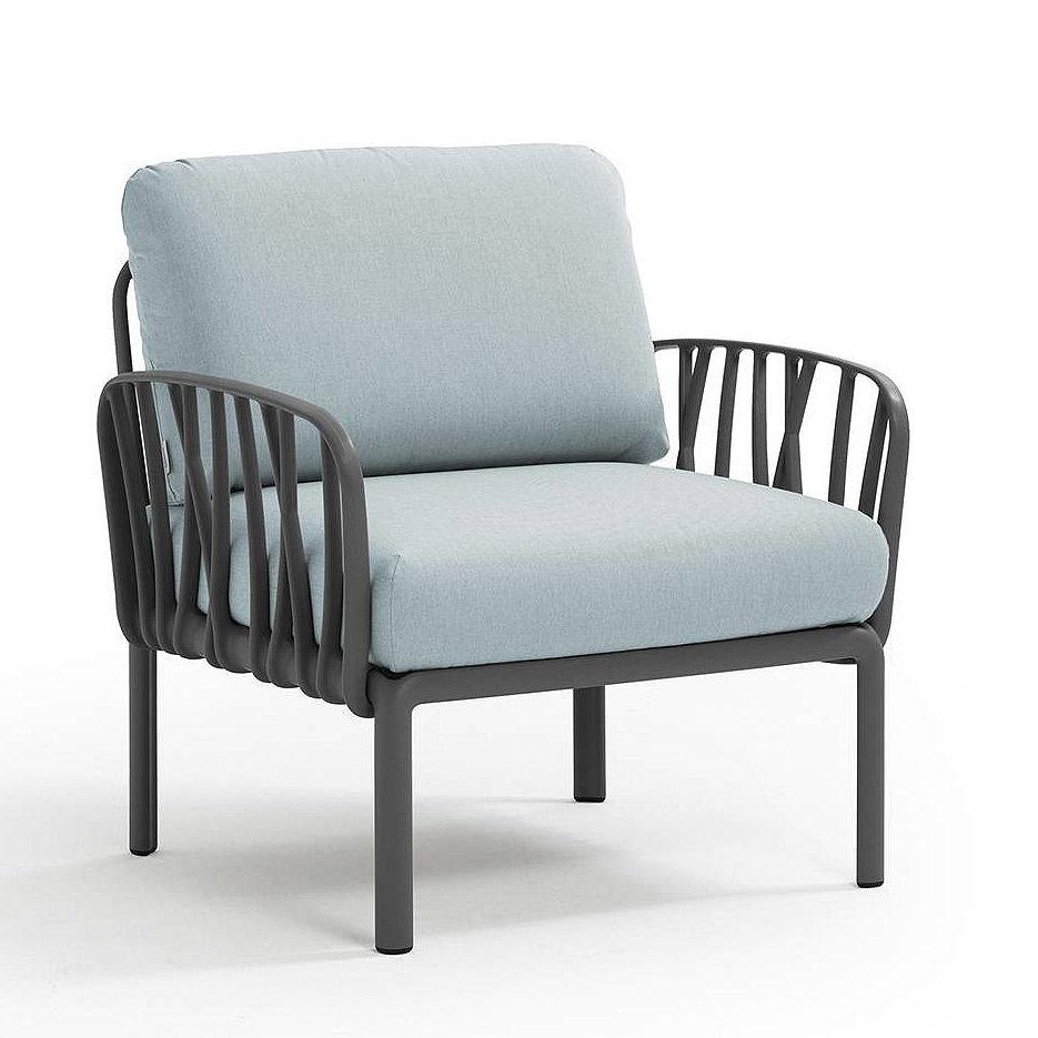 Кресло с подушками для сада и терас Nardi KOMODO POLTRONA ANTRACITE-ghiaccio Sunbrella 40371.02.138