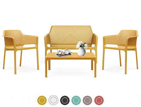 Комплект садовой мебели NARDI NET BENCH + 2 кресла NET + стол NET TABLE 100 + подушки для кресел