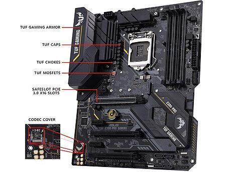 Placa de baza ASUS TUF Z390-PRO GAMING Intel Z390, LGA1151, Dual DDR4 4266MHz, 3xPCI-E 3.0/2.0 x16,HDMI/DP, AMD Quad-GPU CrossFireX&NVIDIA 2-Way SLI, USB3.1, SATA RAID 6Gb/s, 2 x M.2 x4 Socket, Intel Optane memory ready, SB 8-Ch., GigabitLAN, LED lighting