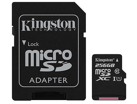 256GB Kingston Canvas Select SDCS/256GB microSDHC, 80MB/s, (Class 10 UHS-I) + Adapter MicroSD->SD (card de memorie/карта памяти)