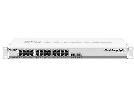 Mikrotik Cloud Smart Switch 326-24G-2S+RM with 24 x Gigabit Ethernet ports, 2x SFP+ cages, SwOS, 1U rackmount case, PSU, CSS326-24G-2S+RM