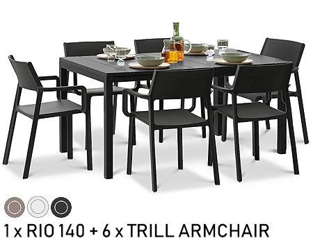 Комплект садовой мебели стол Nardi RIO 140 EXTENSIBLE + 6 кресел TRILL ARMCHAIR
