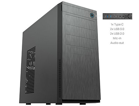Case ATX Miditower Chieftec Elox HC-10B-OP Black no PSU, 2x USB3.0, 2x USB2.0, Mic-in, Audio-out, 1x USB Type C (480 Mbit/s), (carcasa/корпус)