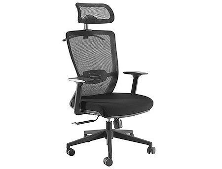 Lumi Premium High-Back Mesh Office Chair CH05-5, Black, Adjustable Tilt Back, Adjustable Headrest, Adjustable Lumbar Cushion, 340mm Nylon Base, 50mm PU Caster, 80mm Class 3 Gas Lift, Weight Capacity