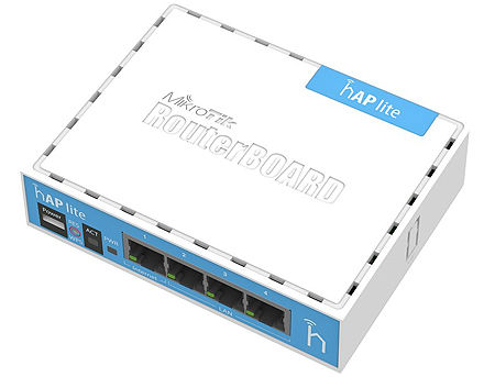 Mikrotik hAP lite (RB941-2nD), 650MHz CPU, 32MB RAM, 4xLAN, built-in 2.4Ghz 802.11b/g/n 2x2 two chain wireless with integrated antennas, RouterOS L4, desktop case, PSU