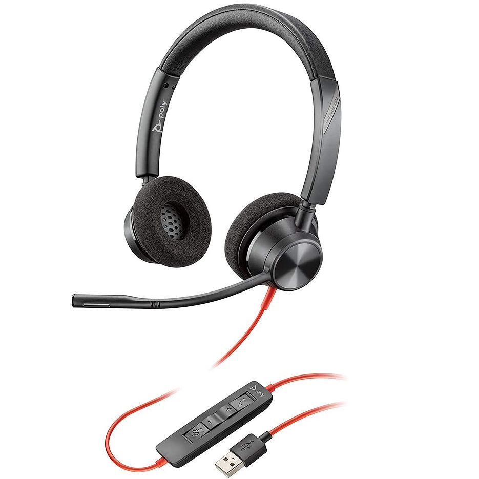 Plantronics Blackwire 3320 Stereo USB-A Headset 213934-01, Noise-cancelling Microphone, Remote Call Control, Mic. Frequency Response 100 Hz–10 kHz, Output 20 Hz–20 kHz, 32Ohm