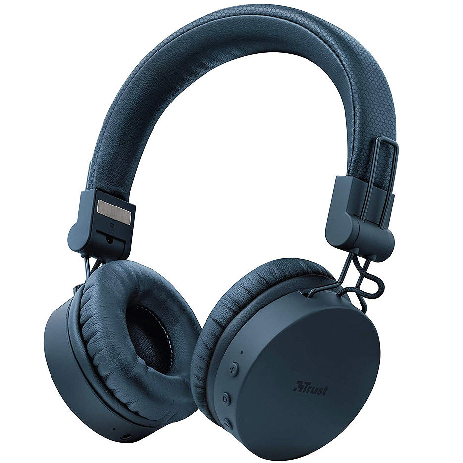 Trust Tones Bluetooth Wireless Headphones, 40mm drivers, 25 hours playtime on a single charge, included 3.5mm cable, Blue