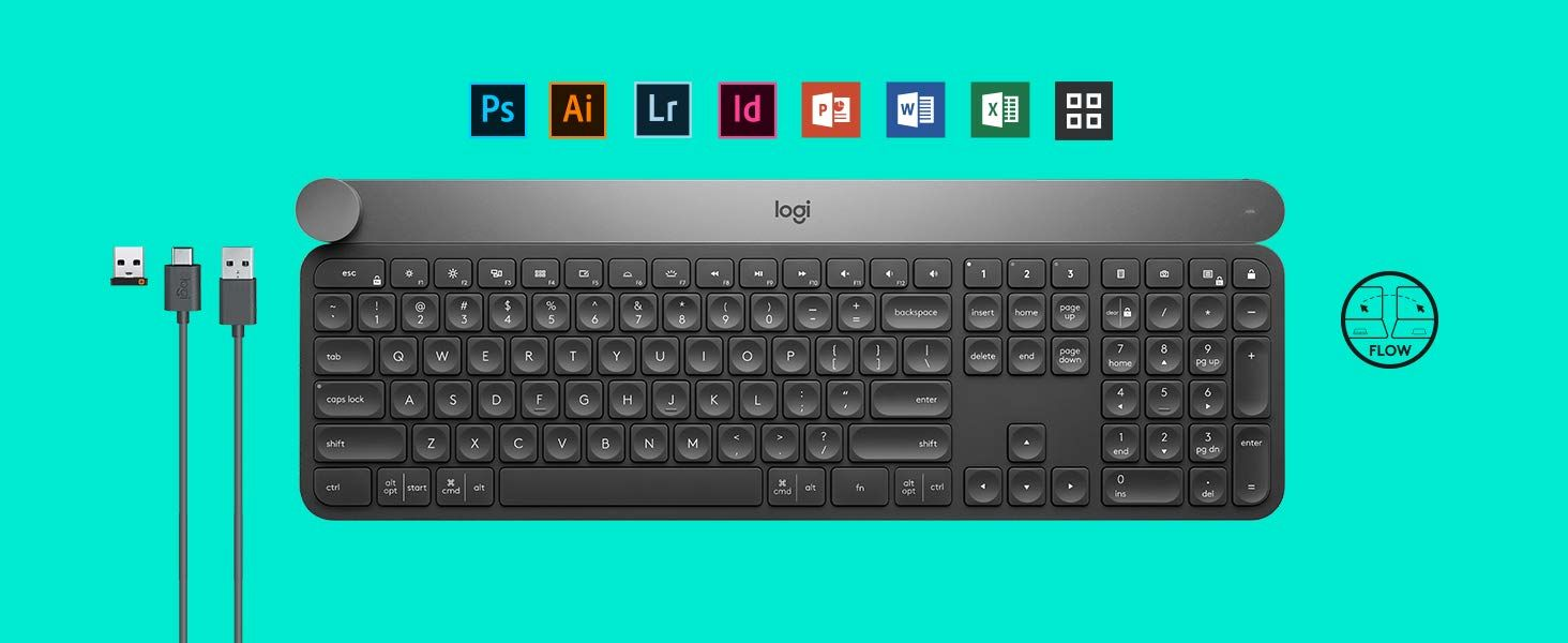 Logitech Wireless Keyboard CRAFT with creative input dial, Logitech