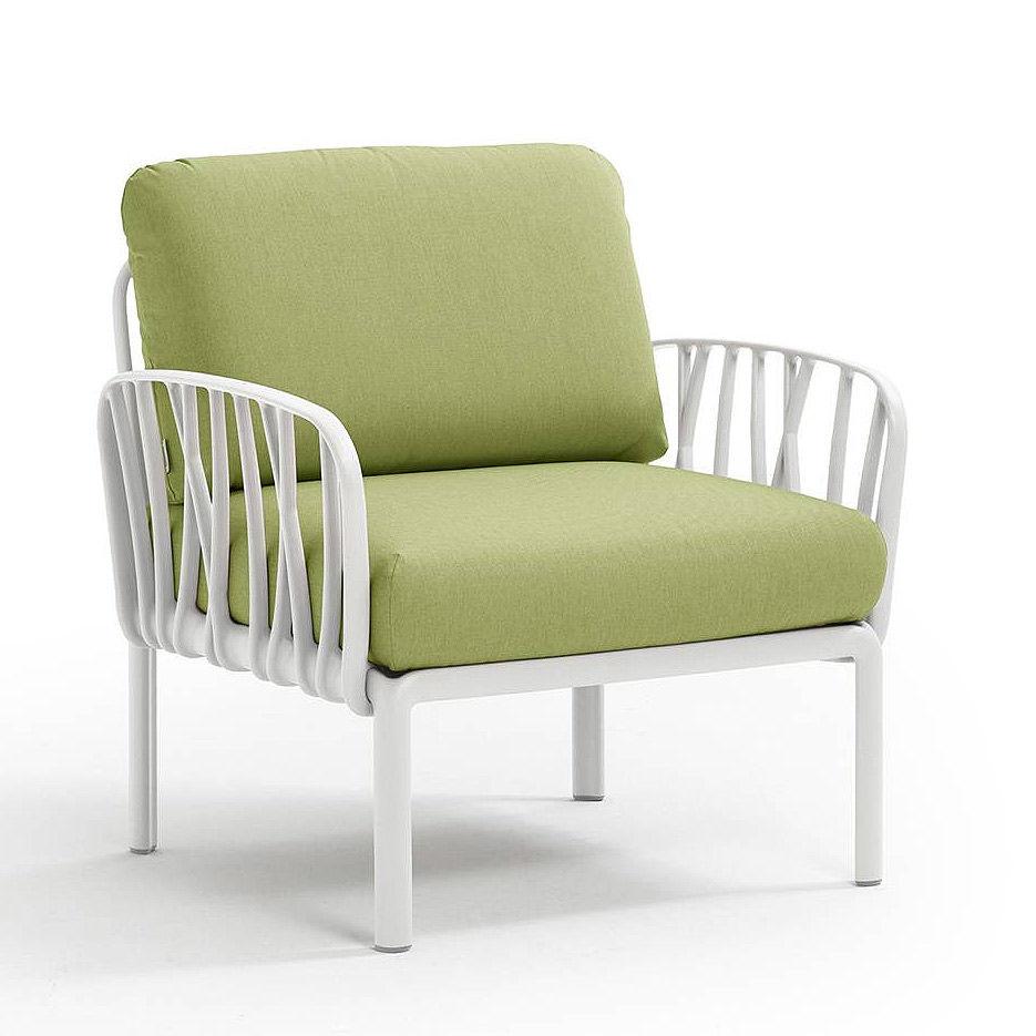 Кресло с подушками для сада и терас Nardi KOMODO POLTRONA BIANCO-avocado Sunbrella 40371.00.139