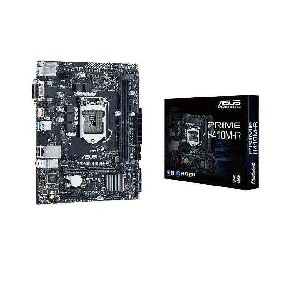 ASUS PRIME H410M-R-SI Intel H410, LGA1200, Dual DDR4 2933MHz, PCI-E 3.0/2.0 x16, D-Sub/DVI-D/HDMI, USB3.2, SATA 6 Gbps, SB 8-Ch., GigabitLAN