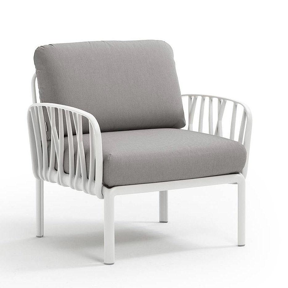 Кресло с подушками для сада и терас Nardi KOMODO POLTRONA BIANCO-grigio 40371.00.163