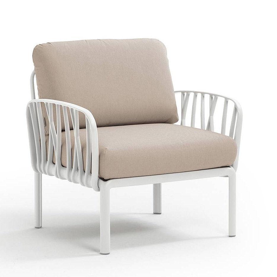 Кресло с подушками для сада и терас Nardi KOMODO POLTRONA BIANCO-canvas Sunbrella 40371.00.141