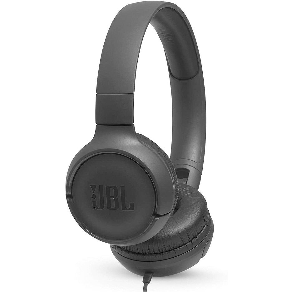JBL TUNE 500 Black On-ear Headset with microphone, Dynamic driver 32 mm, Frequency response 20 Hz-20 kHz, 1-button remote with microphone, JBL Pure Bass sound, Tangle-free flat cable, 3.5 mm jack, Black