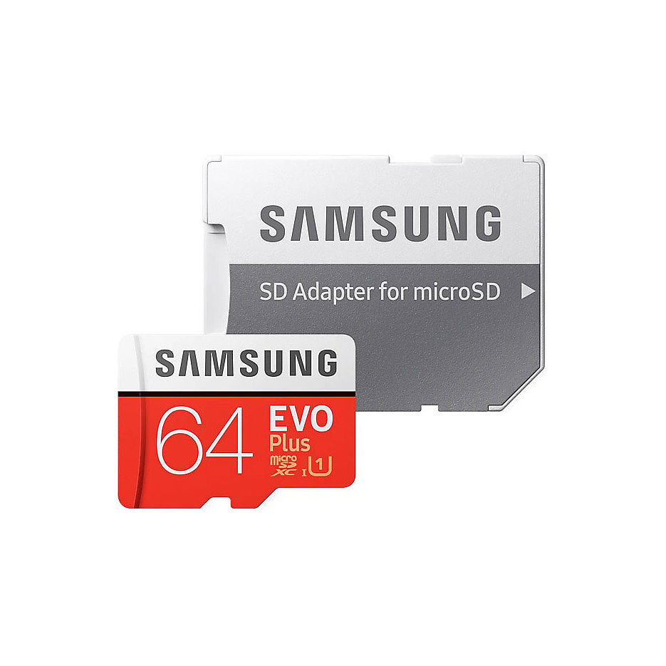 64GB Samsung EVO Plus MB-MC64HA/RU microSDXC (Class 10 UHS-I) with Adapter, Read:up to 100MB/s, Write:up to 20MB/s (card de memorie/карта памяти)