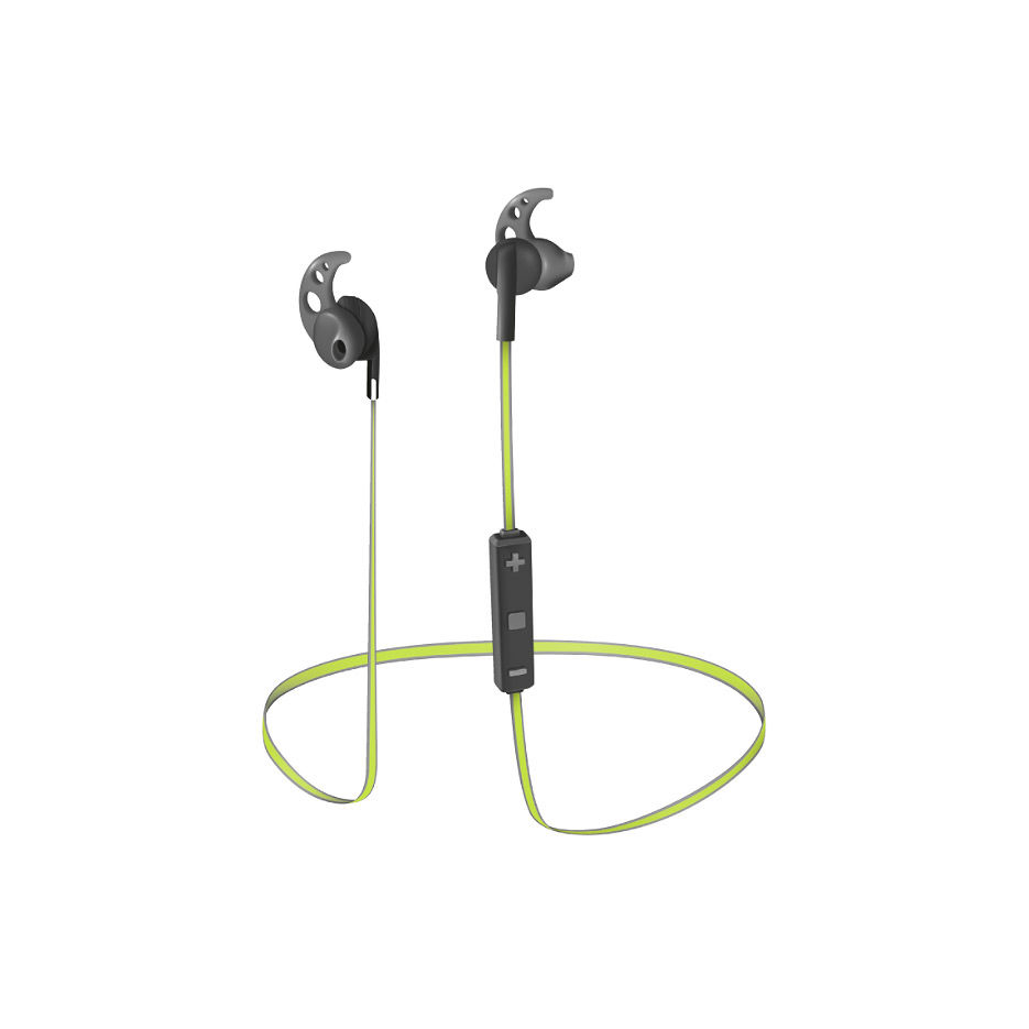 Trust Sila Bluetooth Wireless Earphones - Black/Lime, Flexible rubber ear hooks to keep the earphone securely in place, Background noise reduction for clear voice during phone calls