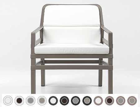 Fotoliu de gradina / de exterior Nardi ARIA FIT (fotoliu + perna spate + perna sezut) acrilic fabric (21 combinatii de culori)