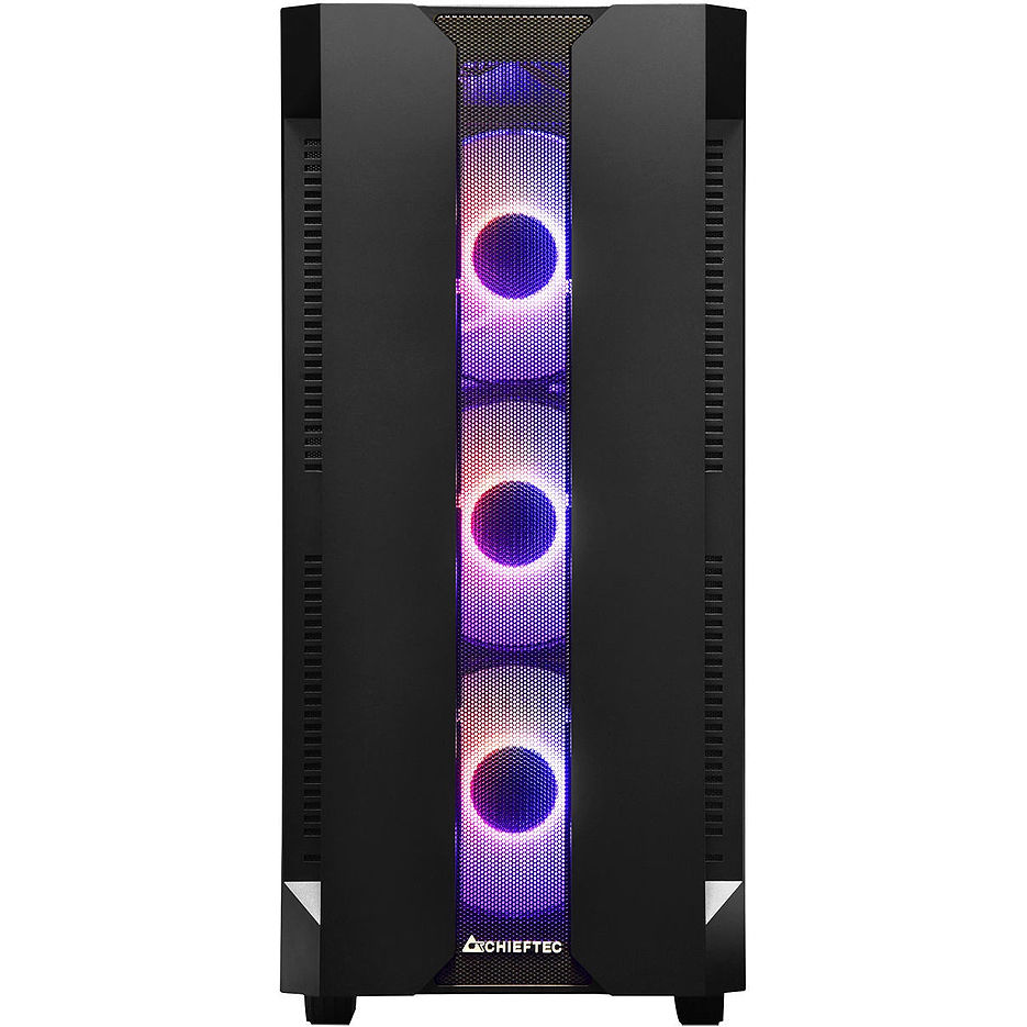 Case ATX Miditower Chieftec Gaming Hunter GS-01B-OP Black no PSU, 2x USB 3.1, 1x USB 2.0, Audio-out, 4x 120mm A-RGB Rainbow LED fan, Mesh front panel, Tempered glass, A-RGB Control HUB, (carcasa/корпус)