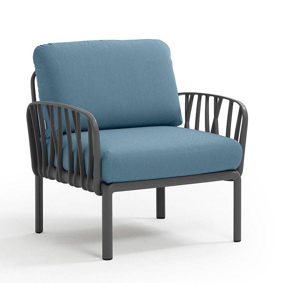 Кресло с подушками для сада и терас Nardi KOMODO POLTRONA ANTRACITE-adriatic Sunbrella 40371.02.142