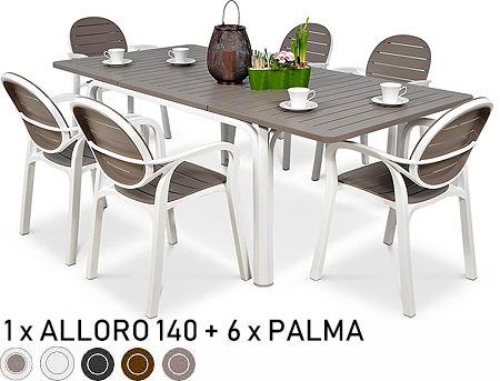 Set mobila de terasa masa Nardi ALLORO 140 EXTENSIBLE + 6 fotolii Nardi PALMA