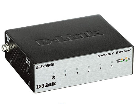 D-Link DGS-1005D/I3A L2 Unmanaged Switch with 5 10/100/1000Base-T ports, 2K Mac address, Auto-sensing, Metal case