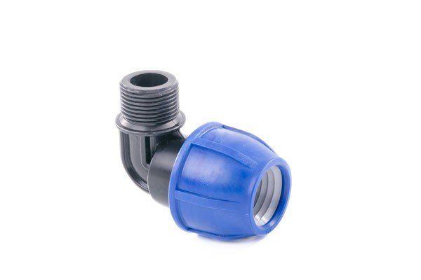 Угол 90 компрессионный с резьбой PE D32x3/4 M