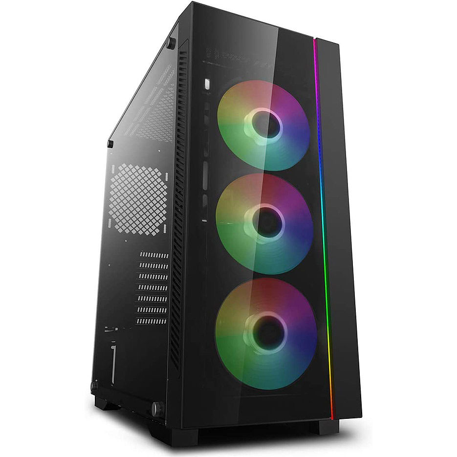 Case Middletower Deepcool MATREXX 55 V3 ADD-RGB ATX Black no PSU, Side & Front panel Tempered glass, RGB lighting strip in the front, 1xUSB3.0/2xUSB2.0/AudioHD x 1/Mic x 1 (carcasa/корпус)