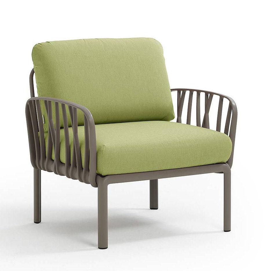 Кресло с подушками для сада и терас Nardi KOMODO POLTRONA TORTORA-avocado Sunbrella 40371.10.139
