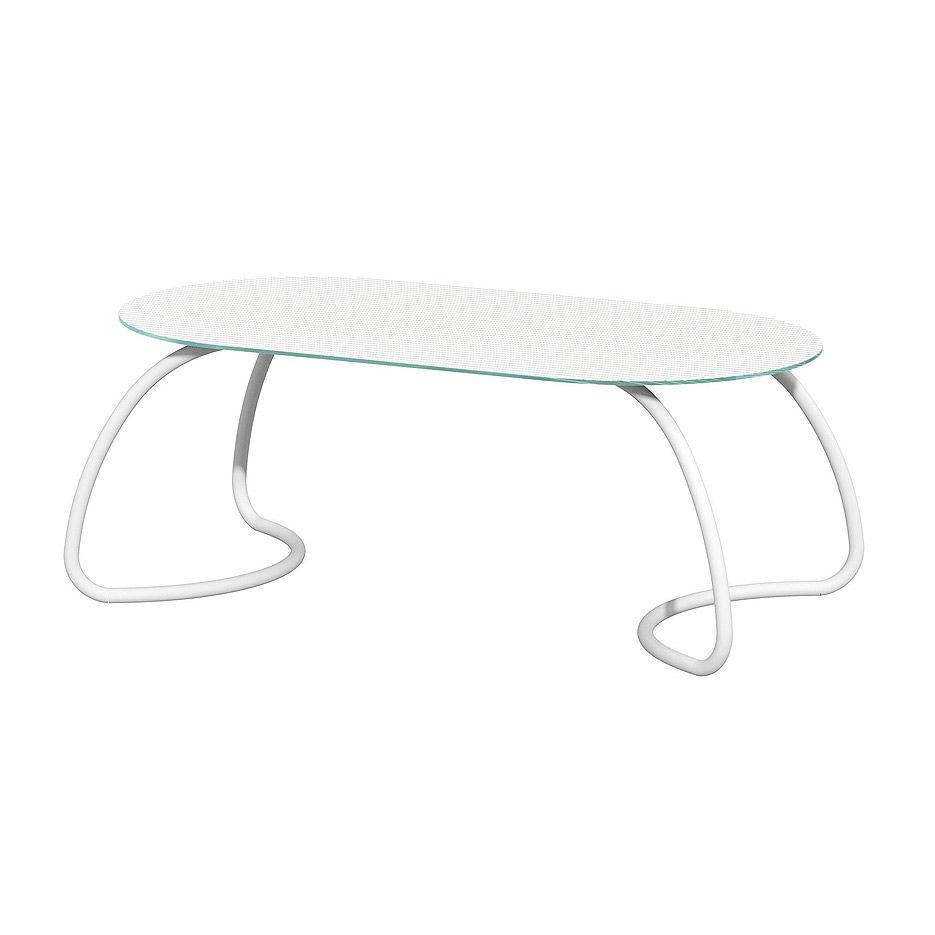 Стол стеклянный Nardi LOTO DINNER 190 BIANCO vern. bianco 44053.00.000 (Стол стеклянный для сада лежака террасы балкон)