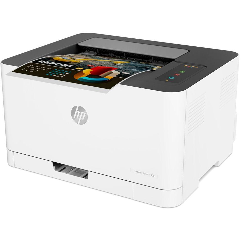 Printer HP Color LaserJet 150a, White, Up to 18ppm b/w, Up to 4ppm color, 600x600 dpi, Up to 20000 p., 64MB RAM, PCL 5c/6, Postscript 3, USB 2.0,Blue Angel DE-UZ 205 (HP 117A/X Bl/C/Y/M)