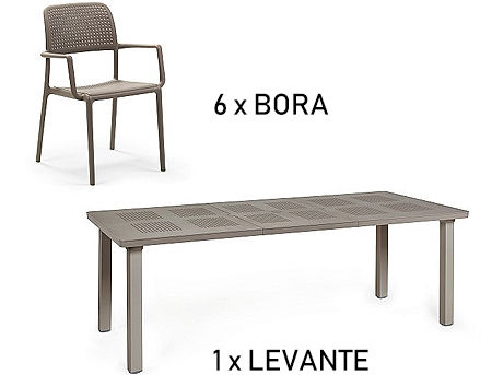 Комплект садовой мебели стол Nardi LEVANTE + 6 кресел BORA