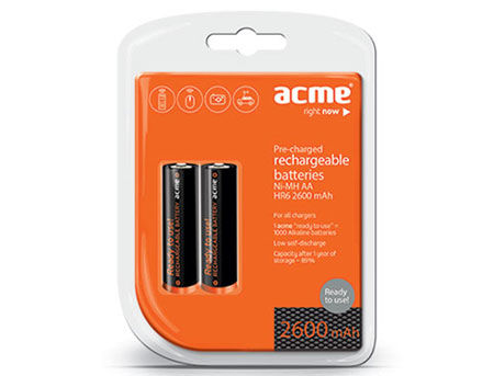 ACME Rechargable Batteries Ready to Use NiMh R06 (AA) 2600 mAh 2pcs
