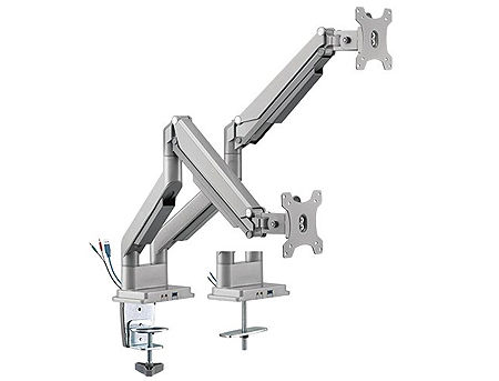 "Brateck LDT34-C024U Dual Monitors Performance Gas Spring Aluminum Monitor Arm with USB 3.0, for 2 monitors, Clamp-on, 17""-32"", +90"