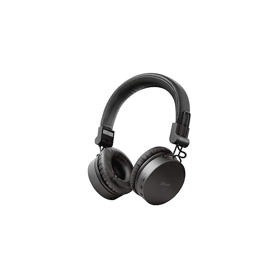 Trust Tones Bluetooth Wireless Headphones, 40mm drivers, 25 hours playtime on a single charge, included 3.5mm cable, Black