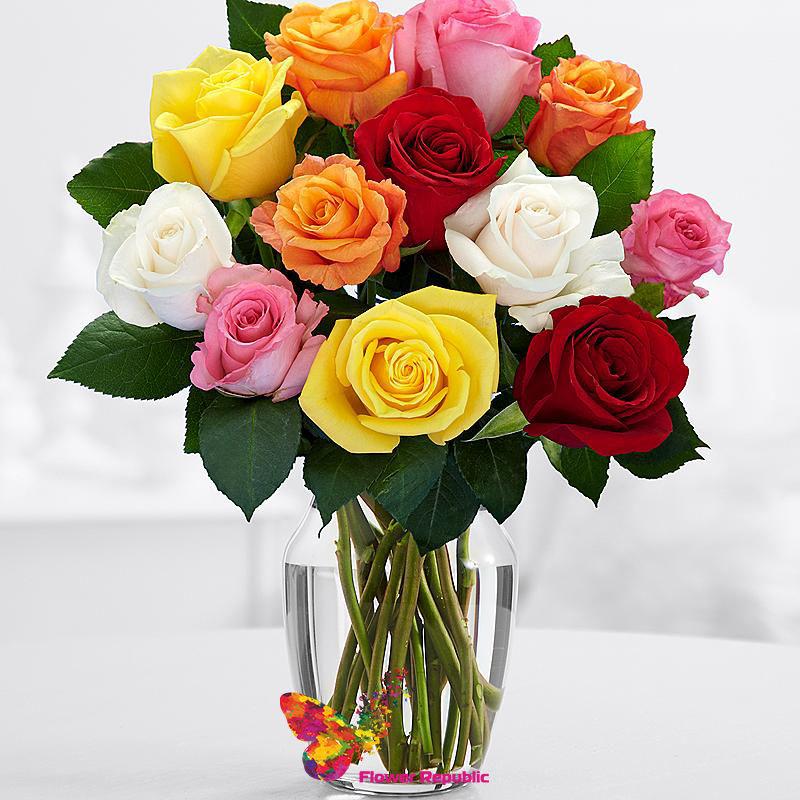 Людоед, букеты разноцветных роз
