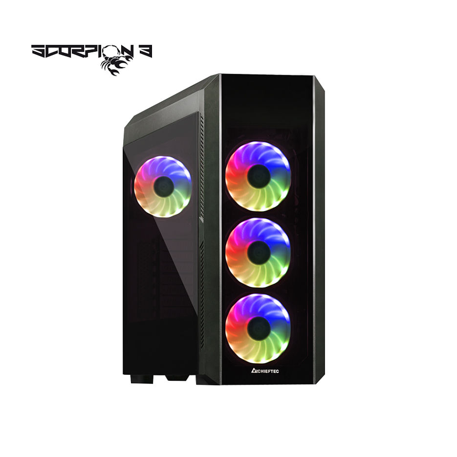 Case ATX Miditower Chieftec Gaming Scorpion III GL-03B-OP Black no PSU, 2x USB 3.1, 1x USB 2.0, Audio-out, 4x 120mm A-RGB Rainbow LED fan, 2 tempered glass, RGB Control HUB, (carcasa/корпус)