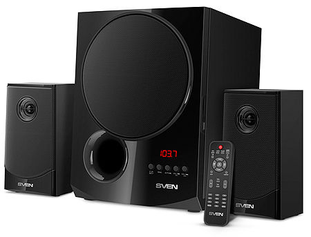 Active Speakers SVEN MS-2080 Black, mini music system: Bluetooth, LED display, remote, FM Tuner, USB port, SD slot ( 2.1 surround, RMS 70W, 40W subwoofer, 2x15W Satellites )