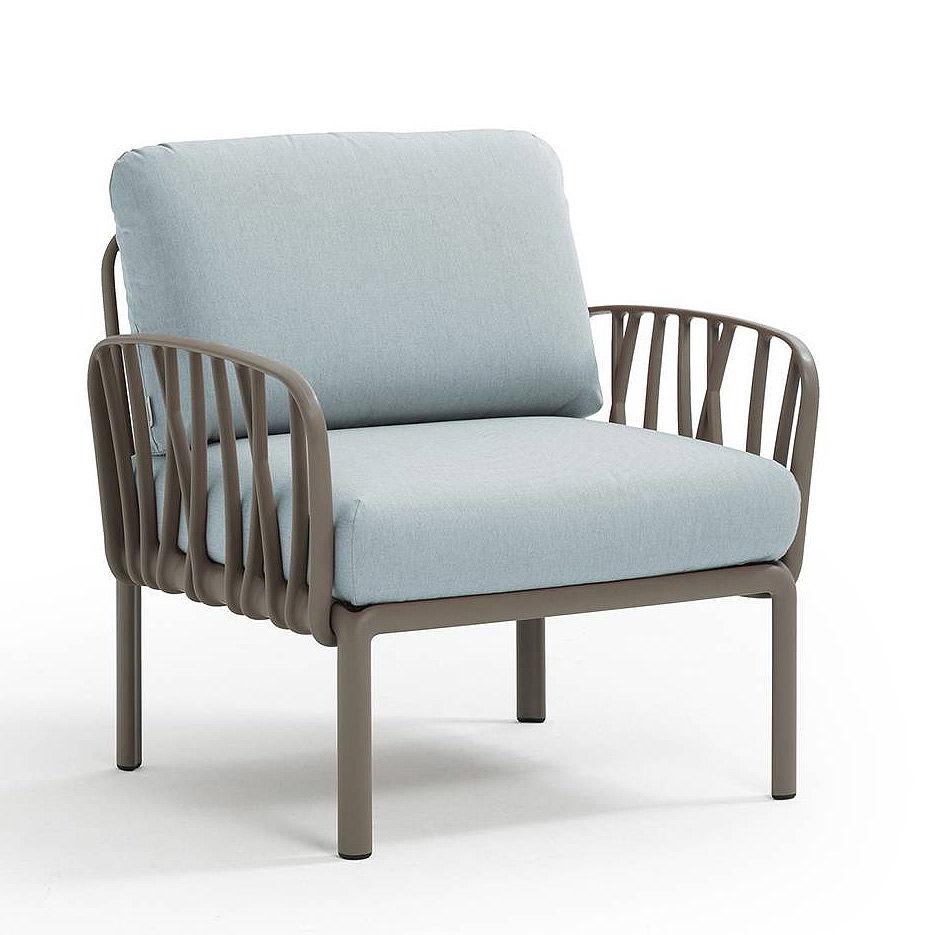 Кресло с подушками для сада и терас Nardi KOMODO POLTRONA TORTORA-ghiaccio Sunbrella 40371.10.138