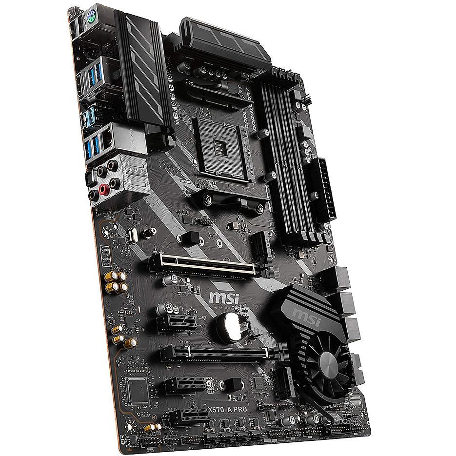 Placa de baza MSI X570-A PRO, Socket AM4, AMD X570, Dual 4xDDR4-4400, APU AMD graphics, HDMI, 2xPCIe4.0 X16, 6xSATA3, RAID, 2xM.2 Gen4.0 x4 slot, 3xPCIe X1, ALC1220 7.1ch HDA, GbE LAN, 8xUSB3.2 Gen1, USB3.2 Gen2(TypeA+C), ATX