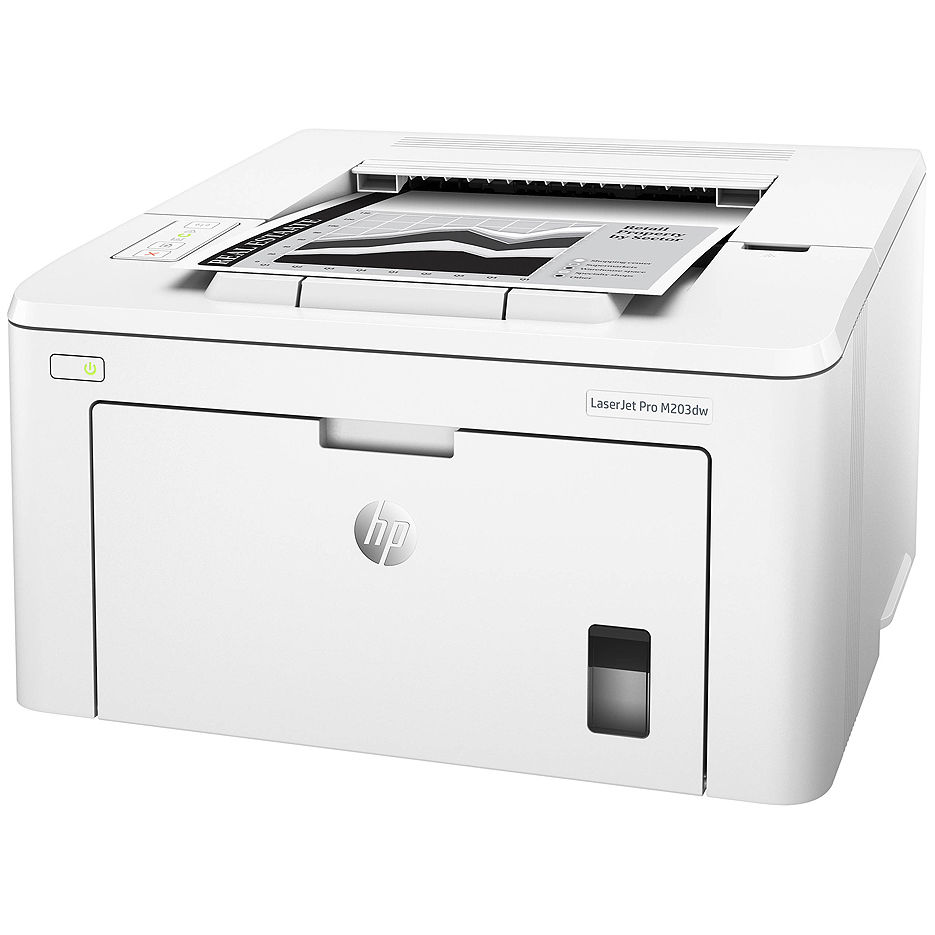 Printer HP LaserJet Pro M203dw, White, A4, 1200 dpi, up to 28 ppm, 256MB, Duplex, Up to 30000 pages/month, USB 2.0, Ether 10/100, Wi-Fi 802.11b/g/n, PCL5c, PCL6, Postscript, HPePrint, Apple AirPrint™, CF230A Cartridge (~1600 pages) Starter ~1000pages