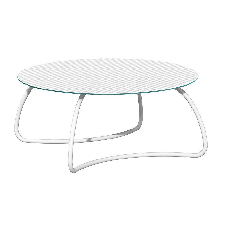 Стол стеклянный Nardi LOTO DINNER 170 BIANCO vern. bianco 44453.00.000 (Стол стеклянный для сада лежака террасы балкон)