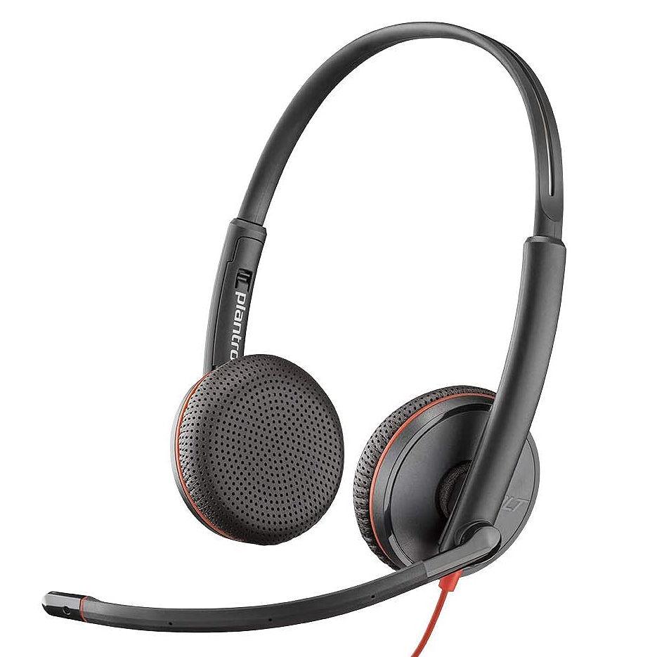 Plantronics Blackwire 3225 Stereo USB-A/ Jack 3.5mm Headset 209747-101, Microphone noise-canceling, SoundGuard, DSP, output 20 Hz–20 kHz, Mic 100 Hz–10 kHz, Remote call control