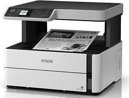 "Epson EcoTank M2140 Monochrome Printer/Copier/Color Scanner, Duplex, A4, 1200 x 2400 dpi, 39 ppm, 3.7"" LCD, 250-sheet Tray, USB 2.0, Black ink (11000 pages 5%), no cable USB www"