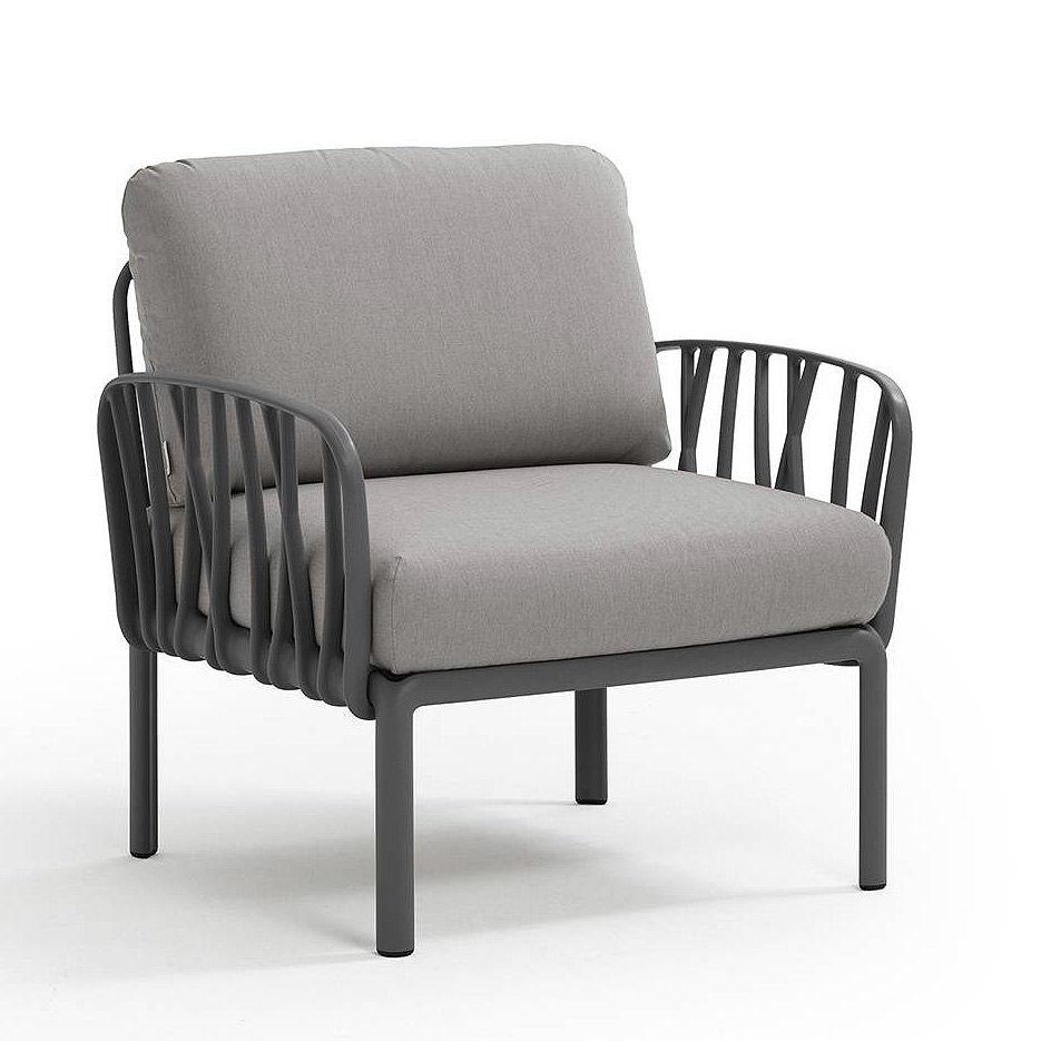 Кресло с подушками для сада и терас Nardi KOMODO POLTRONA ANTRACITE-grigio 40371.02.163