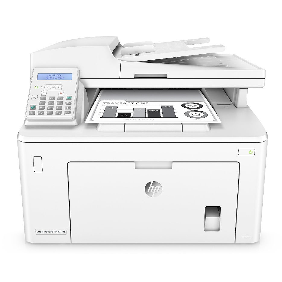 MFD HP LaserJet Pro M227fdn, White, A4, 28ppm, Fax, 256MB, up to 30000 monthly, 1200dpi, Duplex, 35 sheets ADF, Hi-Speed USB 2.0, Fast Ethernet 10/100Base-TX, HP ePrint, Apple AirPrint (CF230A ~1600 pages, CF230X~3500 pages)
