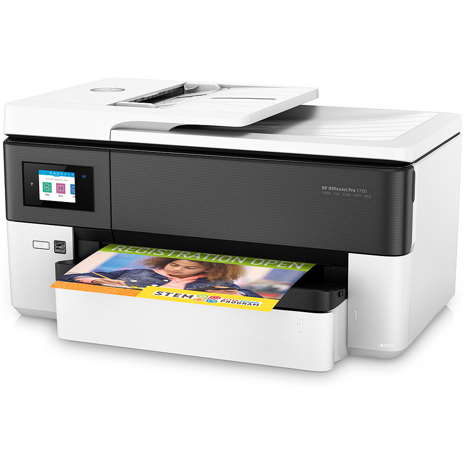 MFD HP OfficeJet Pro 7720 Wide, White, A3, Fax, up to 34ppm, 4800x1200dpi, Duplex, 512MB, 6,75 cm Touch LCD, up to 30000 pages, 35 pages ADF, USB 2.0, WiFi 802.11b/g/n, Ethernet, RJ-11, ePrint, AirPrint (953/XL B/C/M/Y Cartridges)