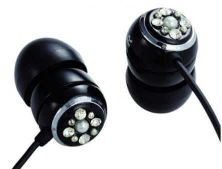 "E11008 ELECOM ORB ""Gem Drops"" Jewel Type Stereo Headphones - (Black, Crystal clear), 20 Hz to 20 kHz, 32 Ohm, 115 dB/1 mW (mini casti/мини наушники)"