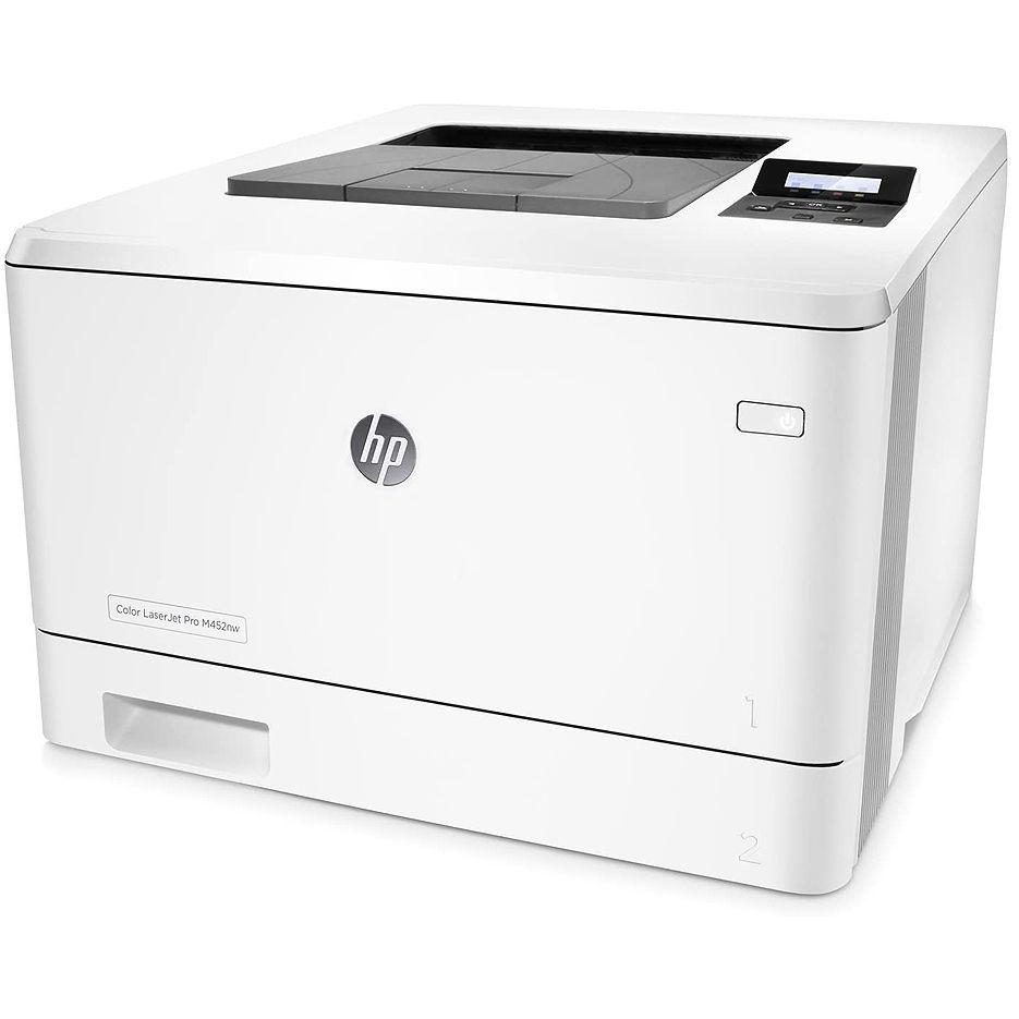 Printer HP Color LaserJet Pro M452nw, White, A4, Up to 27ppm, 600x600 dpi, Up to 50000 p., 256 MB Flash, 128 MB DRAM, LCD display, PCL 5c/6, Postscript 3, USB 2.0, Ethernet 10/100Base-TX, Wi-Fi 802.11 b/g/n, HP ePrint, Apple AirPrint(HP410A B/C/Y/M)