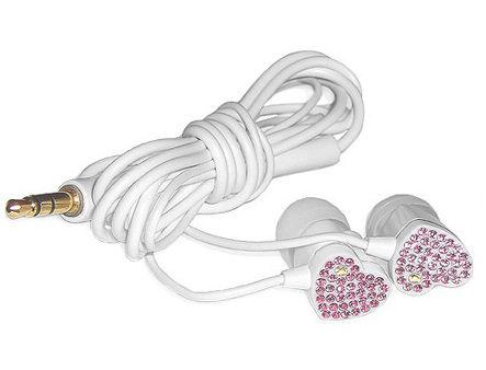 "E11000 ELECOM HEART ""Gem Drops"" Jewel Type Stereo Headphones - (White, Pink topaz), 20 Hz to 20 kHz, 16 Ohm, 100 dB/1 mW (mini casti/мини наушники)"