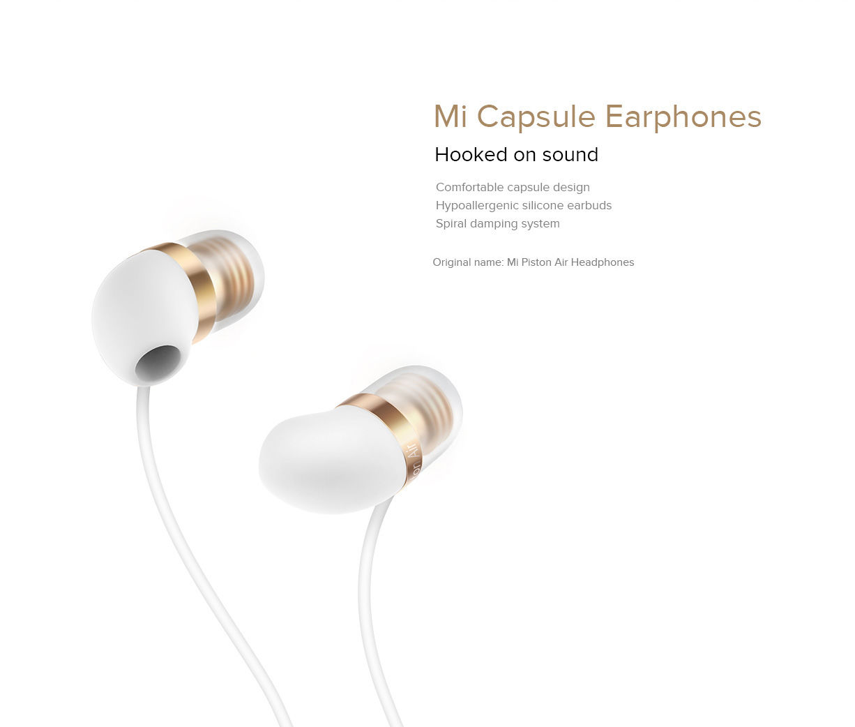 Αποτέλεσμα εικόνας για Handsfree Xiaomi Piston Capsule in ear White/Gold